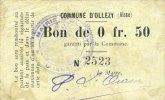 FRANZÖSISCHE NOTSCHEINE Ollezy (02). Commune. Billet. 50 centimes. N°... 5,00 EUR  zzgl. 7,00 EUR Versand