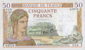 1938-10-20 BANKNOTEN DER BANQUE DE FRANCE Banque de France. Billet. 50... 140,00 EUR  zzgl. 7,00 EUR Versand