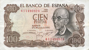 1970-11-17 ANDERE AUSLÄNDISCHE SCHEINE Espagne. Billet. 100 pesetas 17... 10,00 EUR  zzgl. 7,00 EUR Versand