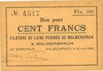 18.6.1940 FRANZÖSISCHE NOTSCHEINE Malmerspach (68). Filature de laine ... 32,00 EUR  zzgl. 7,00 EUR Versand