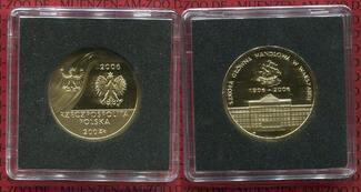 200 Zloty Gold 15,5 g 900 Gold 27 mm 2006 Polen, Poland Polen 200 Zloty Gold 2006 Handelsschule Schiff Polierte Platte