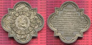 Silber plakette Silver Medal 1874 Brüssel Bruxelles Congrés Humanitaire von C.H. Würden RR ! Leopold II. prfr. schöne tönung min. Prüfsp.