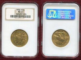10 Dollars Eagle Goldmünze 1932 USA Goldco...