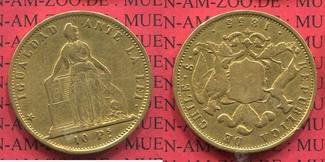 10 Pesos 1855 Chile Stehende Liberty / Wap...