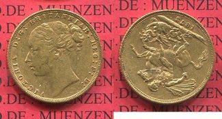 Sovereign Goldmünze 1872 England  Great Britain UK Victoria ss