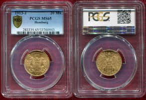 20 Mark Goldmünze 1913 J Hamburg, German Empire Free City of Stadtwappen Gold PCGS MS 65
