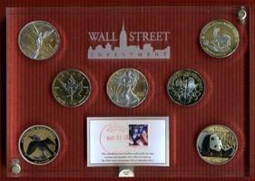 7 x 1 Unze Silber 2011 USA, Kanada, China,...