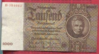 1000 Reichsmark 1936 Deutsche Reichsbank 1924-1945 III. Reich Schinkel Swastika fast Kassenfrischs. Bild