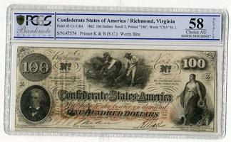 100 Dollars Banknote 1862 CSA Konföderierte Staaten von Amerika Mit Stempeln Richmond Virginia PCGS 58 Choice AU Det.