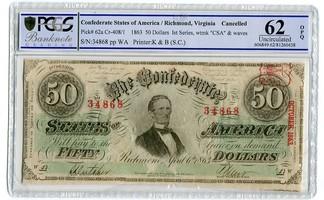 50 Dollars Banknote 1862 CSA Konföderierte Staaten von Amerika Richmond Virginia Cancelled PCGS 62 unc