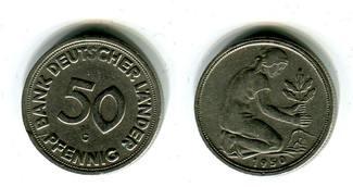 50 Pfennig 1950 G Bundesrepublik Deutschland, Germany FRG Bank Deutscher Länder, selten ss kleine Randkerbe