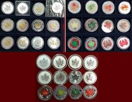 36 x 5 Dollar Münzen außergewöhnliche Sa versch. Jahre Kanada 36 x 1 Unze Silber - Maple Leaf - alle besser - Privy Mark, Teilvergoldet, Farbe Lot mit Kapseln und Holzbox