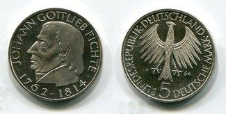 5 Deutsche Mark 1964 J BRD Bundesrepublik Deutschland, FRG, Germany Johann Gottlieb Fichte Polierte Platte mit Kapsel