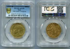 50 Lire 1911 R Italien 50 Th. Anniversary Kingdom 50 Jahre Königreich VZ PCGS AU 55