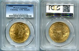 20 Dollars Gold 1904 USA Liberty Double Eagle Frauenkopf PCGS zertifiziert Genuine Cleaning-UNC Details
