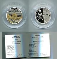 50 Euro Gedenkmünze Silber 2016 Frankreich, France &quot:  UNESCO-Seineufer-Musée Orsay  5 oz Silber,teilvergoldet Polierte Platte mit Kapsel,Box + Zertifikat