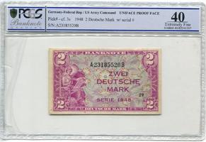 2 DM Druckprobe 1948 Bundesrepublik Deutschland Kopfgeld Einseitig US Army Comand Uniface Proof Face RRR II-III PCGS EF 40