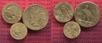 2,5, 5 und 10 Dollars Indianerkopf Set 191...