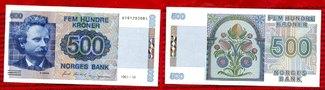 Norwegen Norway 500 Kronen Banknote 1991 I...