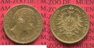 20 Mark 1872 D Bayern, Bavaria König Ludwi...