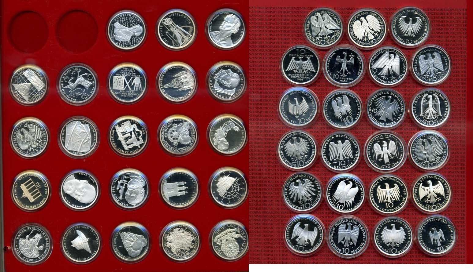 23 x 10 DM Gedenkmünzen 1987-1998 Bundesrepublik Deutschland Deutschland 23 x 10 Mark BRD Kapsel x 1 Tablet Spiegelglanz* - PP