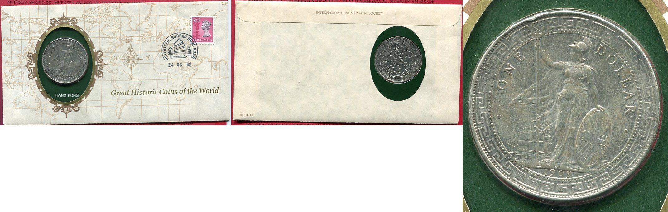 Trade Dollar Silbermünze 1909 England Großbritannien UK England Trade Dollar Silber 1909 Hong Kong Silber sehr schön kl. rdf. im Numisbrief