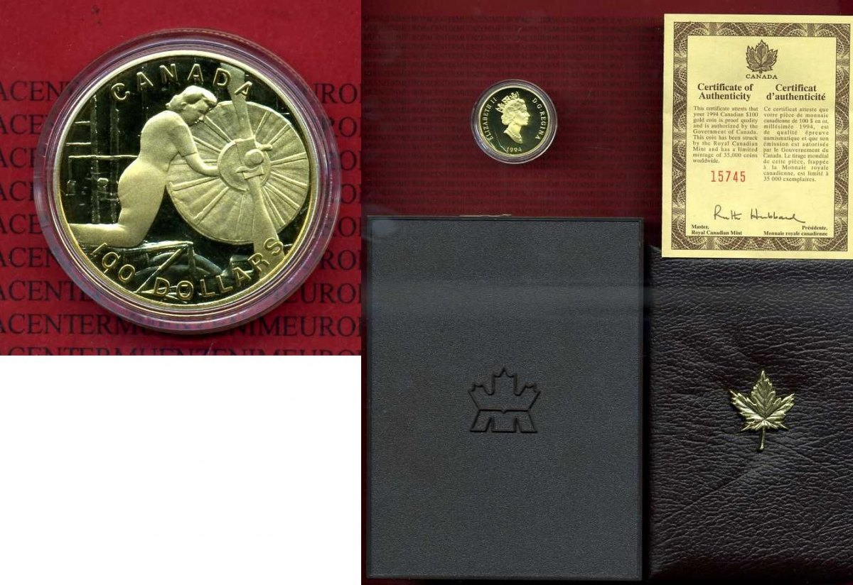 100 dollars gold 1994 kanada world war ii home front. Black Bedroom Furniture Sets. Home Design Ideas