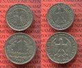 III. Reich Nickel Kursmünzen Set von 2 Münzen - 1 Reichsmark 1933 E und 50 Reichspfennig 1930 A