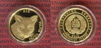 Weissrussland Belarus 50 Rubel 1/4 Unze Gold Fuchs, Fox mit eingearbeiteten Brillianten als Augen