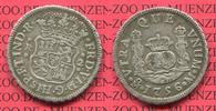 2 reales Silbermünze Wappen m. Säulen 1756...