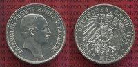 5 Mark Silbermünze 1914 E Sachsen Friedric...