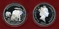 Cook-Inseln, Cook Islands Elephant 100 Dollars Silber 5 Unzen Cook Islands 100 Dollars 1991 Elefantenfamilie Endangered Wildlife 5 Unzen