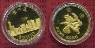 Hong Kong 1000 Dollars Hong Kong 1000 Dollars 1997, Gold PP Rückgabe von Hong Kong an China