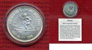Vietnam 100 Dong Silbermünze Vietnam 1986, 100 Dong XV Olympiade in Calgary, Skiläufer, Zertifikat, Kapsel