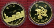 Hong Kong 1000 Dollars Goldmünze Hong Kong 1000 Dollars 1997, Gold PP Rückgabe von Hong Kong an China OVP