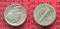 USA 10 Cents Silbermünze Mercury Dime USA 10 Cents Mercury Typ Dime 1918