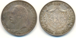 Doppeltaler 1854. HESSEN DARMSTADT Ludwig III, 1848-1877: Attraktives Exemplar mit feiner Patina, vz
