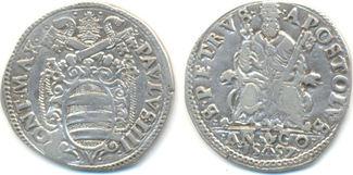 Testone Ancona 1557 Vatikan Kirchenstaat: Pius III, 1555-1559: ss