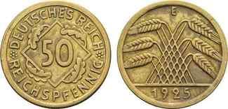 50 Reichspfennig 1925 E. WEIMAR Kursmünzen...