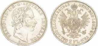 Doppelgulden 1863 A. HABSBURG Franz Joseph...