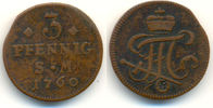 3 Pfennig 1760 Erfurt Bistum: Johann Friedrich Karl, 1743-63: ss  15,00 EUR  zzgl. 1,00 EUR Versand