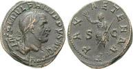 Sesterz 247-249  Philippus I., 244-249 ss+, leichter Doppelschlag  300,00 EUR  zzgl. 6,50 EUR Versand