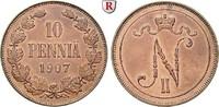10 Penniä 1907 Finnland Unter russischer Herrschaft, Nikolaus II., 1894... 50,00 EUR  zzgl. 6,50 EUR Versand
