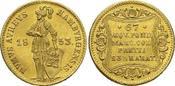 Gold-Dukat 1853 Hamburg-Stadt  Winz.Kr., k...