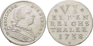 1/6 Taler(Kriegsgeld) 1758 Württemberg Kar...