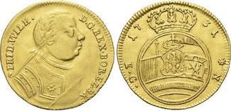 Gold-Dukat 1731 Brandenburg-Preussen Friedrich Wilhelm I. - der Soldatenkönig 1713-1740. Felder min. geglättet, sehr schön +