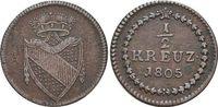 CU-1/2 Kreuzer 1805 Baden-Durlach Karl Friedrich 1738-1806. Selten, seh... 69,00 EUR  zzgl. 3,00 EUR Versand