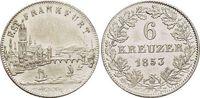 6 Kreuzer 1853 Frankfurt-Stadt  Berieben, fast vorzüglich  22,00 EUR  zzgl. 3,00 EUR Versand