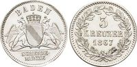 3 Kreuzer 1867 Baden-Durlach Friedrich I. 1852-1907. fast Stempelglanz  79,00 EUR  zzgl. 3,00 EUR Versand