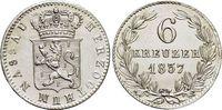 6 Kreuzer 1837 Nassau Wilhelm 1816-1839. fast Stempelglanz  89,00 EUR  zzgl. 3,00 EUR Versand